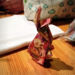 #origamigraffiti at Noodles.  Submitted by Opus.