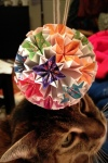 Modular origami bouquet (with cat).  Submitted by Opus.
